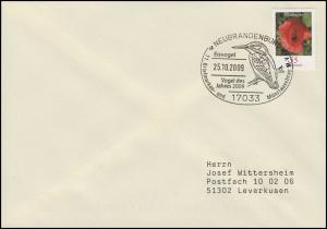 Eisvogel - Vogel des Jahres 2009, EF Brief SSt Neubrandenburg 25.10.2009