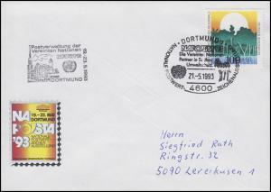 NAPOSTA Dortmund 1993, Bf SSt Dortmund Umweltschutz Zebra 21.5.95 & UNO-Stempel