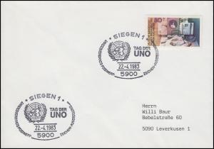 1154 Tag der Briefmarke, EF Brief SSt Siegen Tag der UNO & UNO-Symbol 22.4.1983
