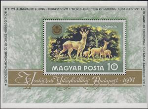 Ungarn: Block Welt-Jagdausstellung & Rehe & Budapest 1971, ** postfrisch