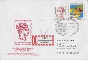 1719 Olympische Flamme & IOC, MiF R-Bf SSt Bonn Olympischer Kongress 29.8.1994