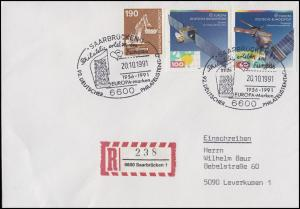 1526-1527 EUROPA Europäische Weltraumfahrt, MiF R-Bf SSt Saarbrücken 20.10.1991