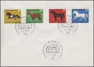578-581 Pferde Pony Kaltblut Warmblut Vollblut, Satz Blanko-FDC ESSt Bonn 6.2.69