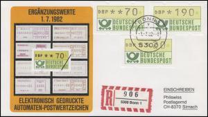 1.1. hu ATM-Ergänzungswerte 20 / 70 / 190 Pf Pf auf Schmuck-R-FDC BONN 1.7.82