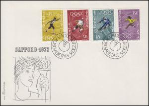 551-554 Olympische Winterspiele Sapporo, 4 Werte auf Schmuck-FDC VADUZ 9.12.1971