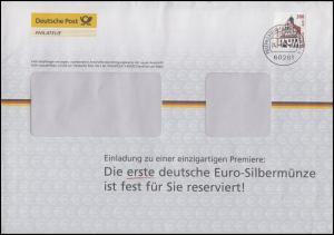 2141 SWK Rathaus Grimma 300 Pf EF Werbe-Brief Euro-Silbermünze FRANKFURT 24.1.02