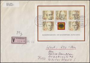 Block 18 Bundespräsidenten 2x MeF Orts-Wert-FDC Ersttagsstempel WESTERSTEDE 1982