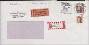 1348 SWK 2x 300 Pf R-Fensterbrief mit Rückschein EUSKIRCHEN Ritterspiele 26.4.89