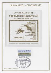Gedenkblatt Jahrhunderthochwasser 1997 mit Vignette, SSt Frankfurt/Oder 19.8.97