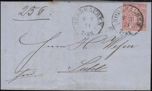 Norddeutscher Bund 1 Gr. EF Brief Einkreis NORDHAUSEN 8.3.71 nach SUHL 10.3.