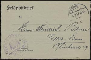 Feldpost Kantinen-Verwaltung des Landwehr-Inf.-Reg. Nr. 21, FELDPOST 4.2.17