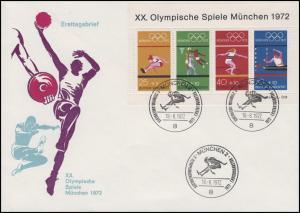 Block 8 Olympiade München 1972 auf Schmuck-FDC ESSt MÜNCHEN Weitsprung 18.8.1972