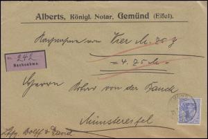 Germania 20 Pf NN-Bf. Königl. Notar Alberts GEMÜND EIFEL 21.7.06 n. Münstereifel