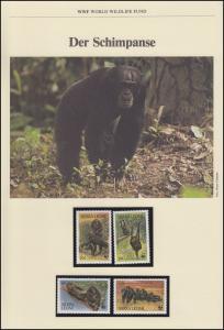 Sierra Leone WWF World Wildlife Fund: Der Schmpanse, Satz ** auf Schmuck-Blatt