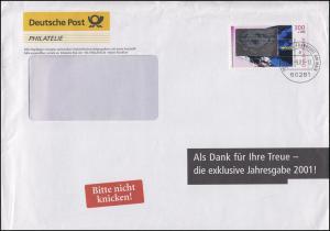 2081 Wohlfahrt Kosmos 300 Pf. mit Hologramm EF Philatelie-Brief Frankfurt 7.9.01