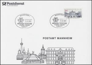 Erinnerungskarte Postamt MANNHEIM mit SSt Maimarkt Mannheim 1.5.1991