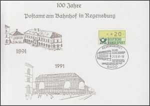 Erinnerungskarte 100 Jahre Postamt am Bahnhof in REGENSBURG SSt 25.10.1991