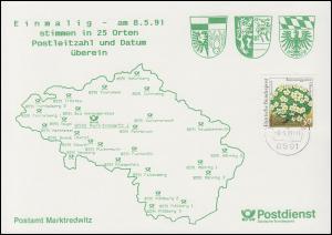 Erinnerungskarte 25 Orte mit PLZ 8591, Postamt Marktredwitz, SCHIRNDING 8.5.91