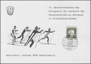 Erinnerungskarte Postsport Ski Nordisch OPD Nürnberg, SSt FICHTELBERG 17.2.91