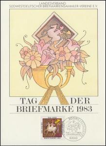 1192 Tag der Briefmarke auf ETB vom Landesverband Südwest mit ESSt Bonn 13.10.83
