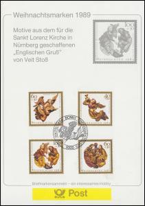 Weihnachen mit Bund 1442-1443 und Berlin 858-859, ESSt BONN 16.11.1989 auf ETB