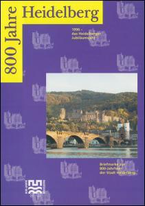 Klappkarte 800 Jahre Heidelberg 1996 mit 1868 im Paar mit passendem ESSt BONN