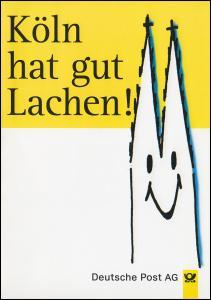 Klappkarte Köln hat gut Lachen! Die neue Postfiliale KÖLN 1 mit SSt 24.10.96