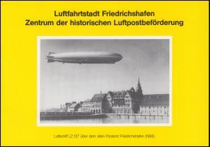 Klappkarte Luftfahrtstadt FRIEDRICHSHAFEN mit 1522-1525 Luftpost mit ESSt 9.4.91