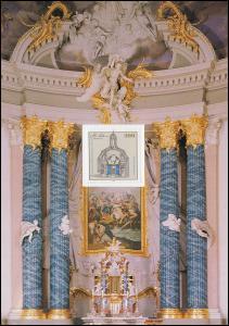 Klappkarte Johann Conrad Schlaun 1995, Marke festgeklebt, ohne Stempel
