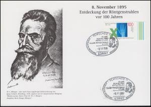 Erinnerungskarte Entdeckung der Röntgenstrahlung SSt REMSCHEID Museum 8.11.1995