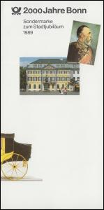 Klappkarte Stadtjubiläum 2000 Jahre Bonn mit 1402 ESSt BONN 12.1.1989