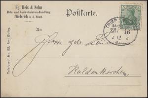 Bahnpost TRIER - BULLAY  ZUG 16 - 2.12.12 auf Postkarte nach Kaldenkirchen