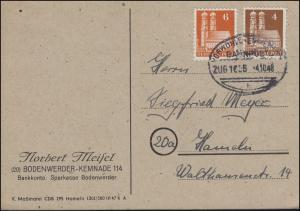 Bahnpost VORWOHLE-EMMERTHAL 4.10.1948 auf Postkarte mit Bauten 74+77