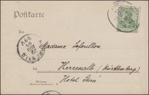 Bahnpost FRANKFURT (MAIN) - KASSEL ZUG 10721.8.1904 auf AK Badischer Schwarzwald