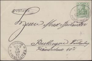 Bahnpost RUDOLFZELL-LINDAU ZUG 673 - 26.4.1905 auf AK Gruss aus Salem