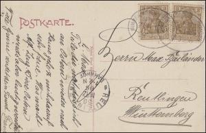 Bahnpost MIMMENHAUSEN-FRICKINGEN ZUG 1785 - 29.3.1906 auf AK Salem Marstall