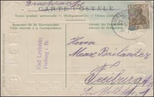 BAHNPOST KONSTANZ 32.7.1907 auf AK Basel - Neue Rheinbrücke / Wappen der Kantone