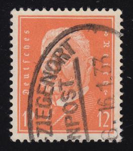 Bahnpost-Stempel (Stettin) - ZIEGENORT 16.1.33 auf Marke 466 Hindenburg