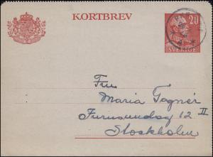 Bahnpost Schweden Kartenbrief-Vorderseite K 31, PKP ... 28.2.1948 nach Stockholm