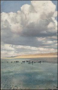 Bahnpost BADEN-CASSEL ZUG 407 - 16.3.1912 auf Ansichtskarte Ebbe an der See