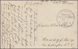 Deutsche Marine-Schiffspost Nr. 48 - 24.6.1915 SMS Thüringen auf AK Abschied