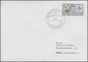 Schiffspost Vogelfluglinie Fährschiff DEUTSCHLAND, EF 1647 Brief 17.5.93