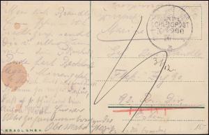 Deutsche Marine-Schiffspost Nr. 200, Humor-AK 1916 an Flak-Zug der 92. Res.-Div.