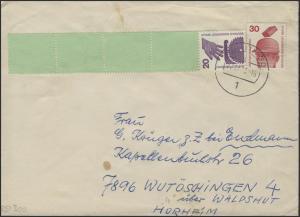 Berlin 20 Pf Unfall RE 1+4, Brief Berlin 27.12.78 + ZF, Banderole, Codierung