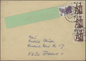 Berlin 20 Pf Unfall RE 1+4, Brief Berlin 27.12.78, ZF mit Nr. Banderole rücks.