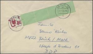 Berlin 40 Pf Unfall Rollenende 1+4 auf Brief Berlin 31.1.74 nach Brück/DDR