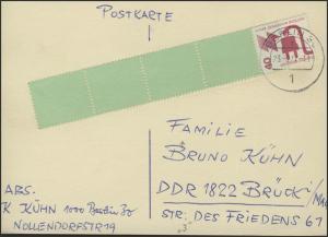 Berlin 40 Pf Unfall RE 1+4, Postkarte Berlin 23.3.77 & Strich-Codierung Nummer 3