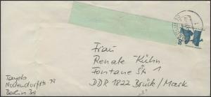 Berlin 50 Pf Unfall RE 1+4 auf Brief Berlin 28.2.77 & Codierung mit Nummer 3