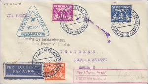 Sonderflug 5. Luftfahrtkongress Paris-Zagreb Brief passender SSt LA HAYE 1.9.30
