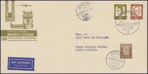 Erstflug TAP München-Genf-Lissabon auf Schmuck-Brief mit SSt MÜNCHEN 1.2.1963